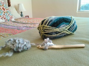 """Difficult"" yarn to the left. Size N/15 needle/hook. Much friendlier yarn on the right."